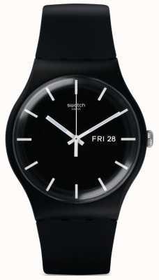 Swatch   novo senhor   relógio preto mono   SUOB720