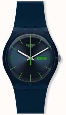 Swatch   novo senhor   rebelde azul relógio   SUON700