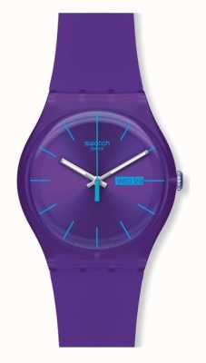 Swatch   novo senhor   rebelde roxo relógio de parede   SUOV702