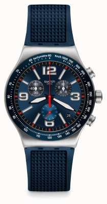 Swatch   novo crono ironia   grade azul relógio   YVS454