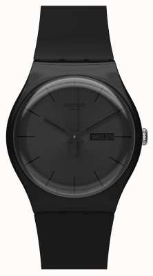 Swatch   novo senhor   rebelde negro relógio   SUOB702