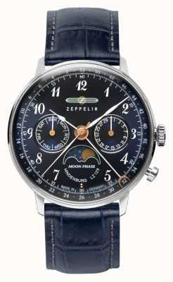 Zeppelin Lz129 hindenburg quartzo dia / data relógio fase da lua mostrador azul 7037-3
