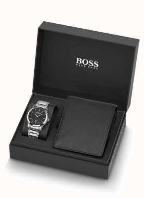 Boss | mens | relógio e carteira de couro preto | 1570093