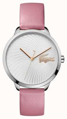 Lacoste | lexi para mulher | pulseira de couro rosa | mostrador prateado | 2001057