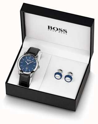 BOSS | mens | conjunto de relógio e botão de punho azul | 1570092