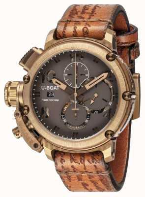 U-Boat Bracelete marrom caso Classico 45 bronzo 8063