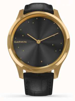 Garmin Vivomove luxo | Capa de ouro 24k pvd | couro italiano preto 010-02241-02