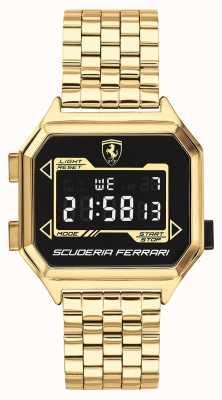 Scuderia Ferrari | digidrive de homem | pulseira banhada a ouro | mostrador preto | 0830705