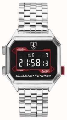 Scuderia Ferrari | digidrive de homem | pulseira de aço inoxidável | mostrador preto | 0830703
