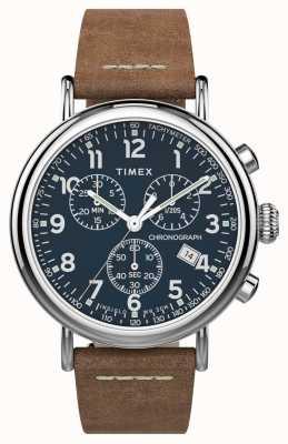 Timex | crono padrão 41mm | pulseira de couro marrom | mostrador azul | TW2T68900