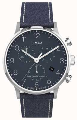 Timex | waterbury chrono clássico 40mm | couro azul | mostrador azul | TW2T71300