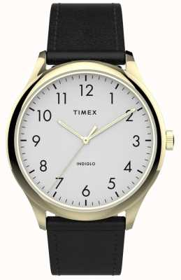 Timex | leitor fácil 40mm | pulseira de couro preto | mostrador branco | TW2T71700