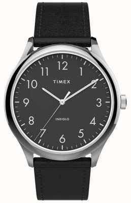Timex | leitor fácil 40mm | pulseira de couro preto | mostrador preto | TW2T71900