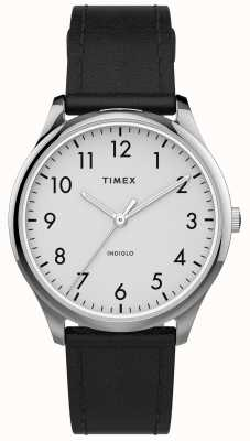 Timex | leitor fácil 32mm | pulseira de couro preto | mostrador branco | TW2T72100