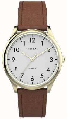 Timex | leitor fácil 32mm | pulseira de couro marrom | mostrador branco | TW2T72300