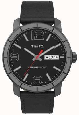 Timex | mod 44mm para homem | pulseira de couro preto | mostrador preto | TW2T72600