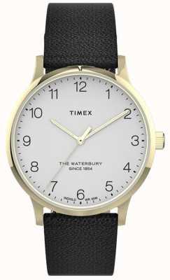 Timex | Waterbury para mulher | pulseira de couro preto | mostrador branco | TW2T75200