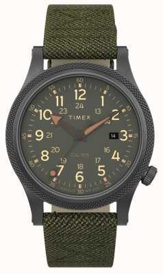 Timex | aliado lt 40mm | caixa cinza | cinta de tecido verde | TW2T76000