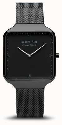 Bering | max rené | pulseira de malha de aço preto mostrador preto | 15836-123
