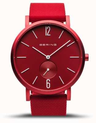 Bering | verdadeira aurora | pulseira de borracha vermelha | mostrador vermelho | 16940-599
