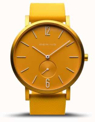 Bering   verdadeira aurora   pulseira de borracha amarela   mostrador amarelo   16940-699