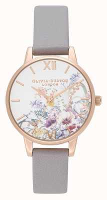 Olivia Burton | mulheres | jardim encantado | pulseira de couro lilás cinza | OB16EG150