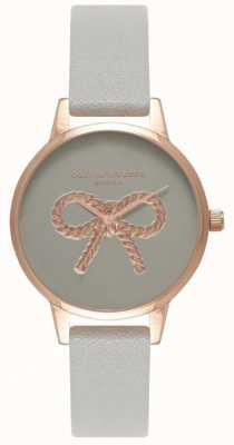 Olivia Burton | mulheres | Arco 3d vintage | pulseira de couro cinza OB16VB04