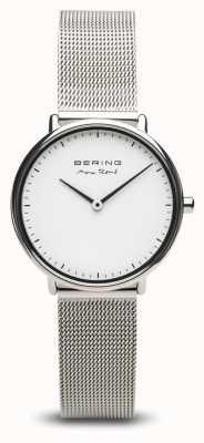 Bering   max rené   prata polida para mulher   pulseira de malha de aço   15730-004