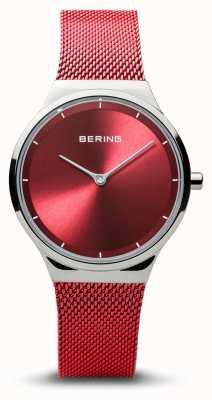 Bering   clássico prata polida para mulher   pulseira de malha vermelha   12131-303