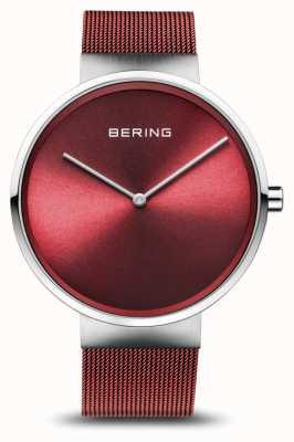 Bering | clássico prata polida / escovada | pulseira de malha vermelha | 14539-303