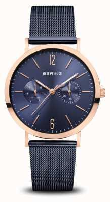Bering | clássico ouro rosa polido | pulseira de malha azul | 14236-367