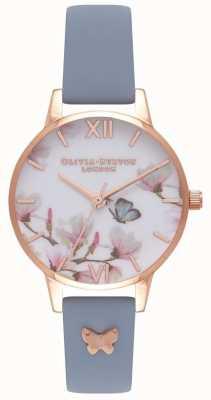 Olivia Burton | mulheres | linda flor | pulseira de couro azul OB16ES08