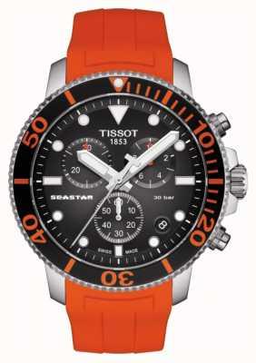 Tissot | cronógrafo seastar 1000 | cinta laranja | 300m T1204171705101