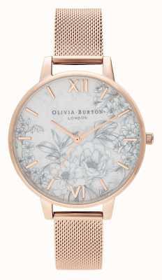 Olivia Burton | mulheres | terrazzo floral | pulseira de malha de ouro rosa | OB16TZ04
