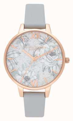 Olivia Burton | mulheres | terrazzo floral | pulseira de couro vegan cinza | OB16TZ01
