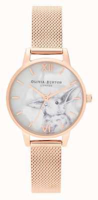 Olivia Burton | mulheres | animais ilustrados | coelho malha de ouro rosa | OB16WL85