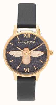 Olivia Burton | mulheres | dial glitter | Abelha 3d | pulseira de couro preta | OB16GD48