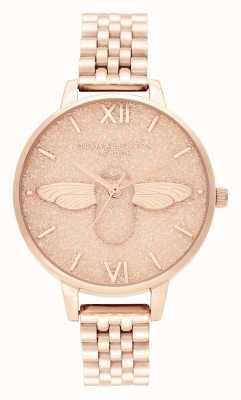 Olivia Burton | mulheres | mostrador de glitter | Abelha 3d | pulseira de ouro rosa | OB16GD46
