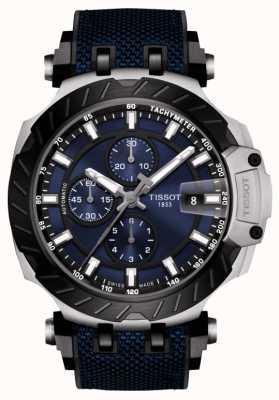 Tissot | corrida t | cronógrafo automático | pulseira de borracha azul | T1154272704100