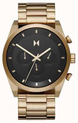 MVMT Elemento chrono | pulseira de aço banhado a ouro | mostrador preto | 28000047-D