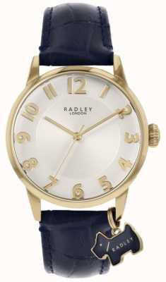Radley Rua Liverpool | pulseira de couro azul | mostrador prateado | RY2868