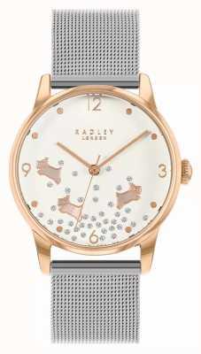 Radley Ditsy cachorro glitter   pulseira de malha de prata   mostrador prateado   RY4405