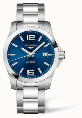 Longines Homens   conquista esportiva   mostrador azul   aço inoxidável L37774996
