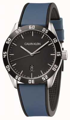 Calvin Klein | competir masculino | pulseira de borracha azul | mostrador preto | K9R31CV1