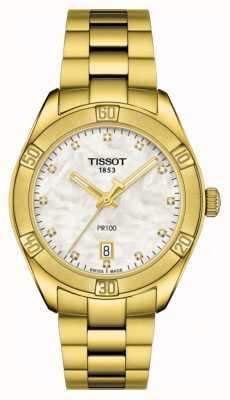 Tissot | pr 100 | aço inoxidável banhado a ouro | mostrador madrepérola T1019103311601