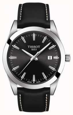 Tissot Cavalheiro | pulseira de couro preta | mostrador preto | T1274101605100