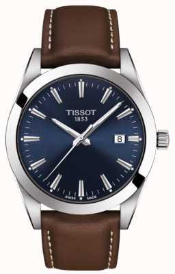 Tissot Cavalheiro pulseira de couro marrom | mostrador azul | T1274101604100