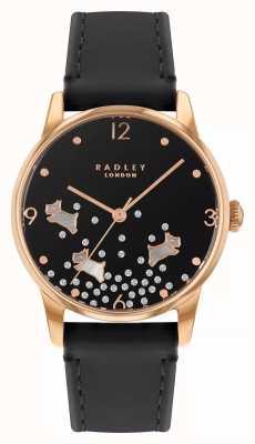 Radley Ditsy cachorro glitter   pulseira de couro azul marinho   mostrador preto   RY2890
