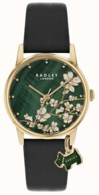 Radley Floral botânico | pulseira de couro azul marinho | mostrador floral verde | RY2882