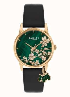 Radley Floral botânico   pulseira de couro azul marinho   mostrador floral verde   RY2882